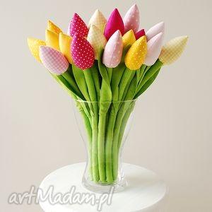 dekoracje tulipany - bukiet bawełnianych kwiatów, tulipany, kwiaty