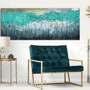 przepiękny pejzaż do salonu - abstrakcyjne drzewa turkusowy świat 02398