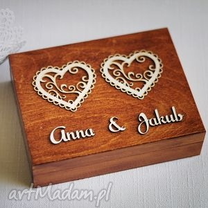 Pudełko na obrączki - dwa serca, pudelko, drewnianepudelko, drewno, obrczki