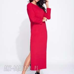 Sukienka maxi z długim rękawem i bocznymi rozporkami , maxi, długa, dzienna, wygodna