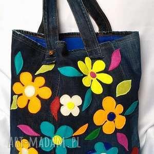 Duża Jeansowa Torba w Kwiaty, torba, torebka, jeans, dżins, kwiaty, filc