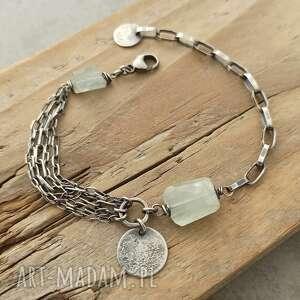 srebrna bransoletka z akwamarynem, srebro, akwamaryn, surowa biżuteria