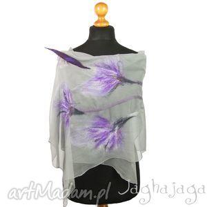 viola- szal filcowany na jedwabiu - szal, szyfon, kwiaty, zwiewny, jedwabny, naturalny