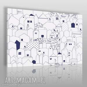 Obraz na płótnie - DOMKI MINIMALIZM 120x80 cm (67601), domki, domy, minimalizm