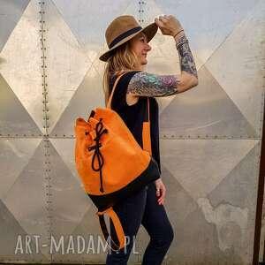 pomarańczowy plecak boho worek, plecak, boho, pojemny wakacje