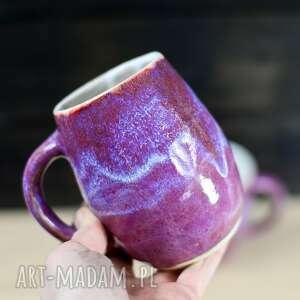 rezerwacja - kubek duży kamionkowy różowo brązowy 420 ml, ceramika