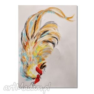 kogut, obraz ręcznie malowany, obraz, autorski, malowany