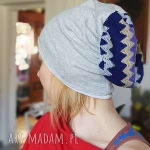 czapka miękka dzianina szara ze wzorem - dzianina, etno, boho, sport, rower, wzory