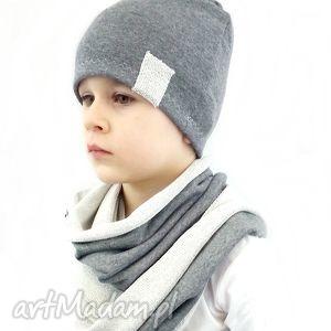 eko komplet dla chłopca - kominy, czapki szalik, czapka