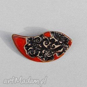 ceramiczna broszka z wzorkiem - broszka, ceramiczna, biżuteria