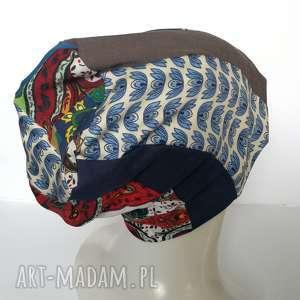 czapka boho kolorowa damska patchworkowa - czapka, etno, boho, kolorowa, wiosna, stylowa