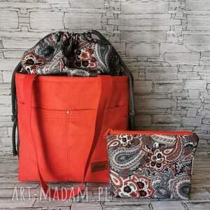 zestaw torebka z kominem kosmetyczka nubuk wodoodporna handmade czerwona