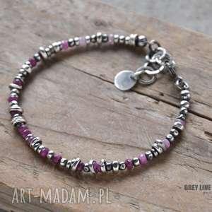 Rubinowa bransoletka, srebro, szlachetne, kamienie, rubin, rubiny, cieniowane
