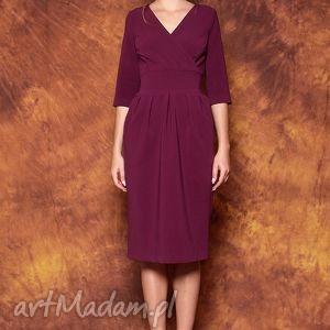 kopertowa sukienka mono, sukienka, elegancka, fioletowa, uniwersalna, midi