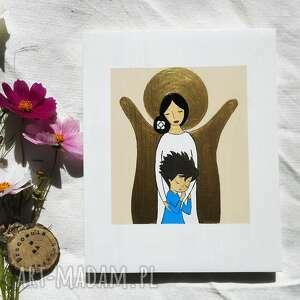 dla dziecka anioł stróż chłopca - brunet, stróż, prezent na komunię