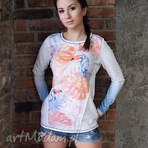bluzy bawełniana bluza tukany, ręcznie malowana biała, bluza, dzianina, biały