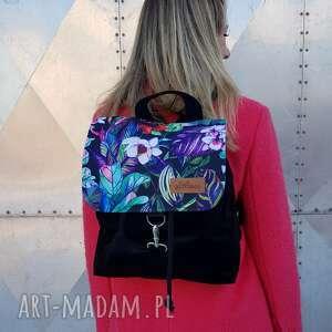 plecak czany welur z klapką, plecak, kolorowy, pojemny, welur, wycieczka