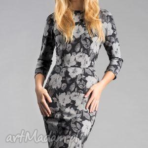 sukienka greta midi dafne, sukienka, ołówkowa, dopasowana, midi, kwiaty, szara, pod