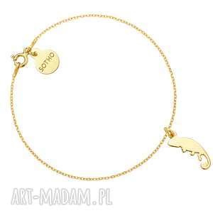 Złota bransoletka z kameleonem - ,bransoletka,żółte,złoto,kameleon,modowa,trendy,
