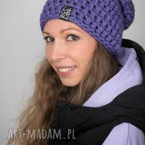 LaCzapaKabra: czapka mono 29 - fioletowa czapa, czapka na zimę, prezent, upominek, na prezent