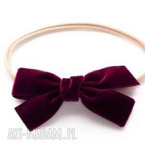 opaska do włosów velvet bow burgund, kokarda, niemowlęca, welurowa