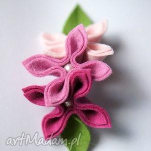pastelowa różowa - broszka, kwiaty