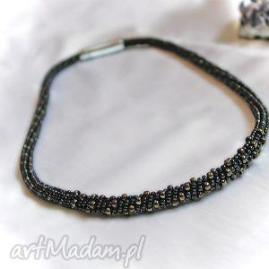korale naszyjnik koralikowy nakrapiany, toho, sznur biżuteria