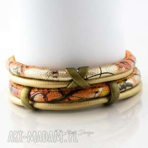 bransoletki bransoletka z rzemieni orange x, oplatana, boho, steampunk, rzemienna
