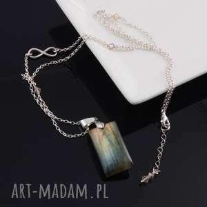 nieskończoność-srebrny wisior z labradorytu