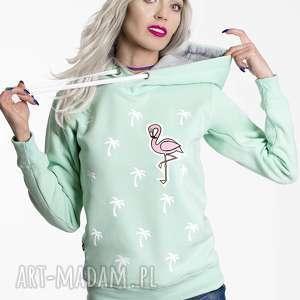 bluza palms and flamingo- mięta kaptur, pamy, nadruk, flaming, naszywka