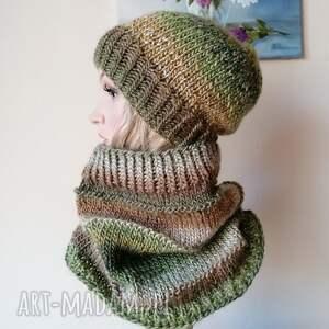 dodatki z oliwką zimowy komplet, rękodzieło, bezszwowa czapka na druta, ręcznie
