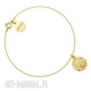 złota bransoletka z liśćmi palmy - liście, trendy, modowa