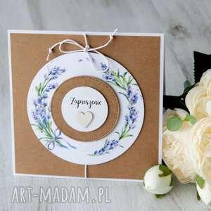 po-godzinach zaproszenie z motywem lawendy ślub, chrzest, wesele