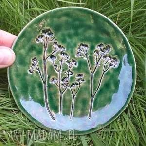 ceramika roślinny zielony talerzyk, talerz ceramiczny, talerz, mały