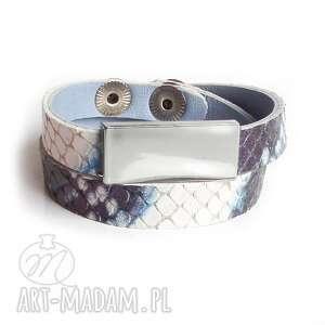ręcznie wykonane bransoletka skóra wężowa niebieska