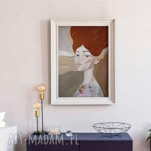 plakat 50x70 cm - wydmy, plakat, wydruk, twarz, kobieta, portret, grafika