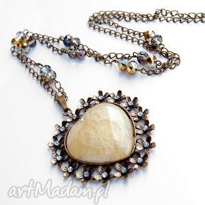 B518 naszyjnik z okwieconym sercem naszyjniki herbarium jewelry