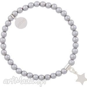hand made dla dziecka srebrna modowa dziecięca bransoletka hematyt ze srebrną gwiazdką