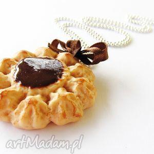naszyjniki naszyjnik ciasteczko z czekoladą, naszyjnik, modelina, fimo