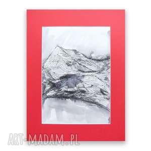 czarno biały rysunek z pejzażem górskim, górski krajobraz rysunek, góry obrazek