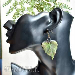 brzozowe - kolczyki z prawdziwymi liśćmi, liście, listki