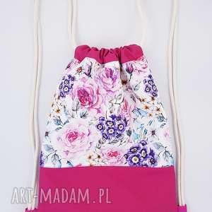 plecak worek kwiaty - ,plecak,worek,kwiaty,vintage,wodoodporny,kodura,