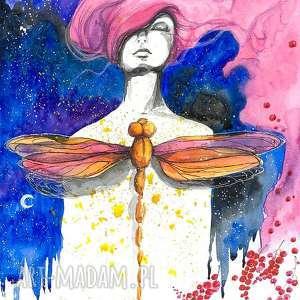 TRANSFORMACJA akwarela artystki Adriany Laube - portret, kobieta, ważka, obraz na