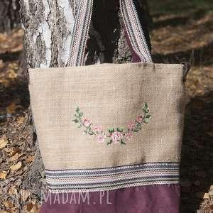 Torba na zakupy , juta haft kwiaty, torba, juta,