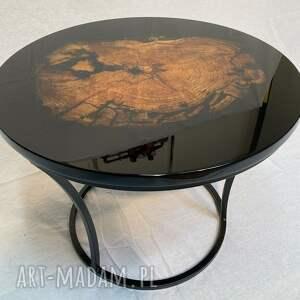 stoły okrągły stolik kawowy z żywicą, połysk, kawowy, lakier