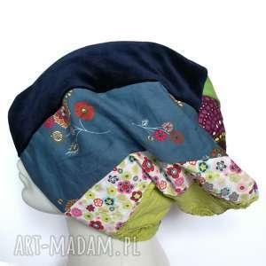 czapka patchworkowa damska uniwersalna , wiosenna, etno, boho, kolorowa, kwiatowa,