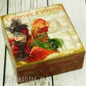szkatułka- karnawał w wenecji, wenecja, karnawał, pudełko, drewniane, na, biżuterię