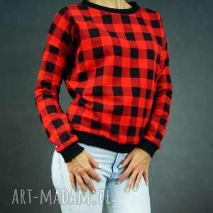 Bluza Checkered Red, bluza-damska, dresowa-bluza-damska, bluza-w-kratkę