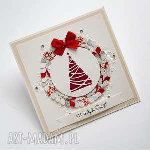 handmade pomysł co pod choinkę kartka świąteczna - wianek