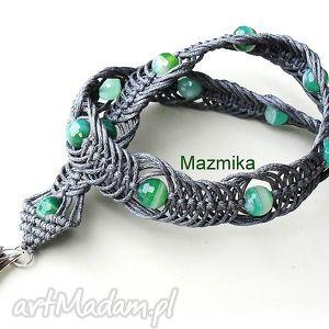 Gray&green-naszyjnik makramowy - ,naszyjnik,makrama,sznurek,agat,plecione,